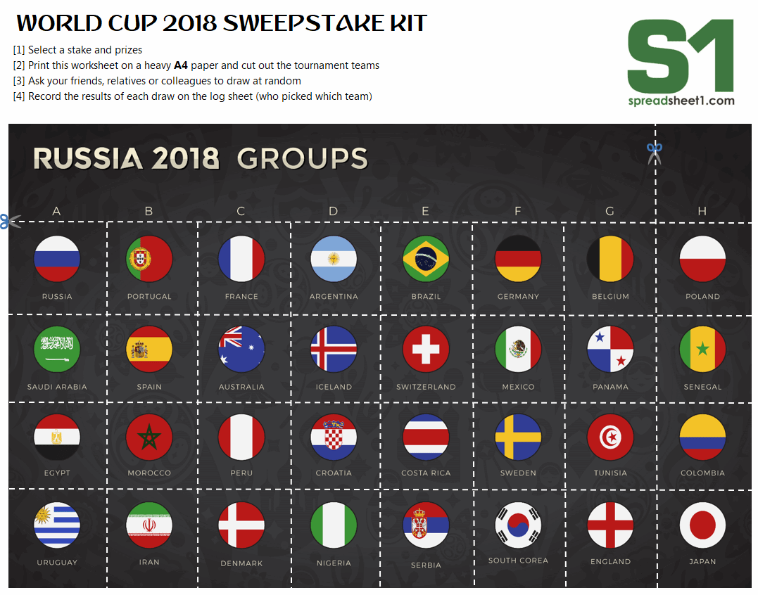 World Cup 2018 Free Sweepstake kit: Download and print