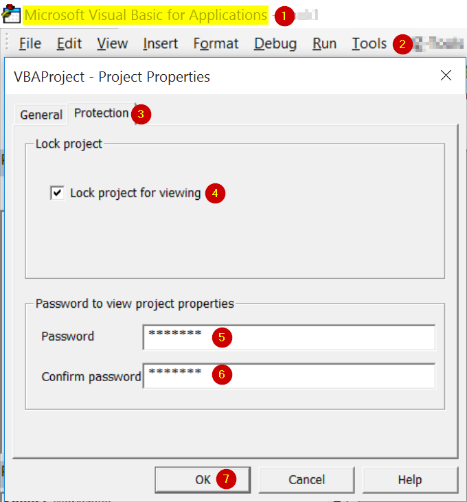 vba project password Re: i need to put a password for a vba code yes i saved the workbook and yet no password was saved , even if i click on the module and go to the vba properties under tools , in the protection tab i see the password i typed and the lock project is checked, and still not working.